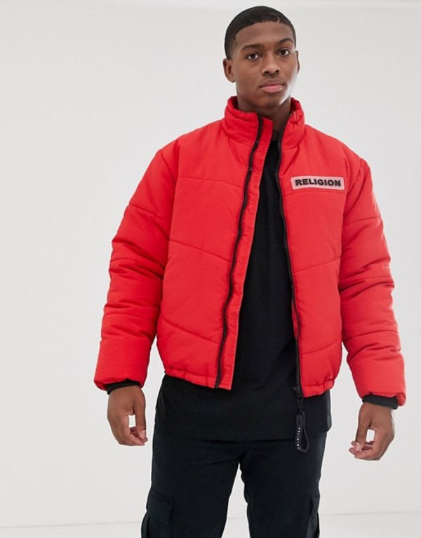 レリジョン メンズ コート アウター Religion puffer jacket with pockets in red Red