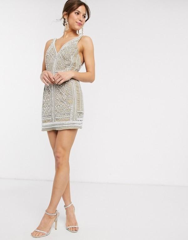 エイソス レディース ワンピース トップス ASOS DESIGN pearl velvet embellished mini dress Taupe