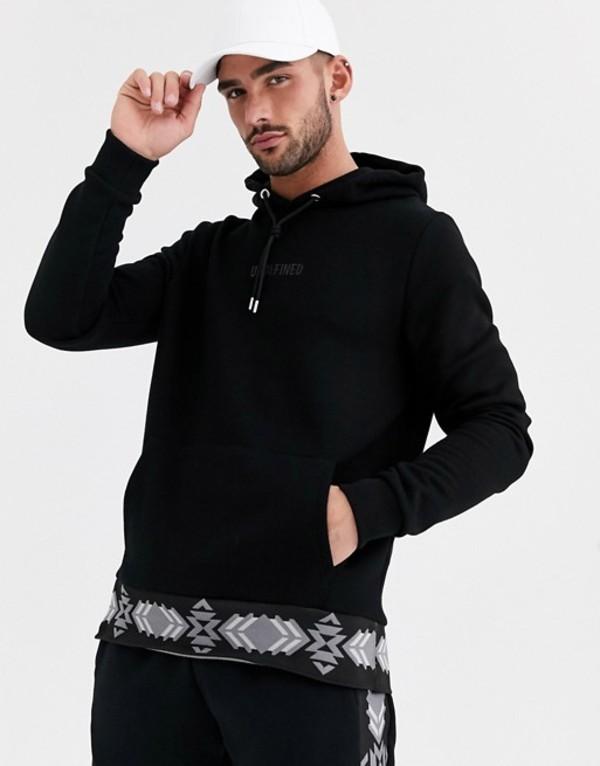 リバーアイランド メンズ パーカー・スウェット アウター River Island hoodie with geo-tribal print in black Black