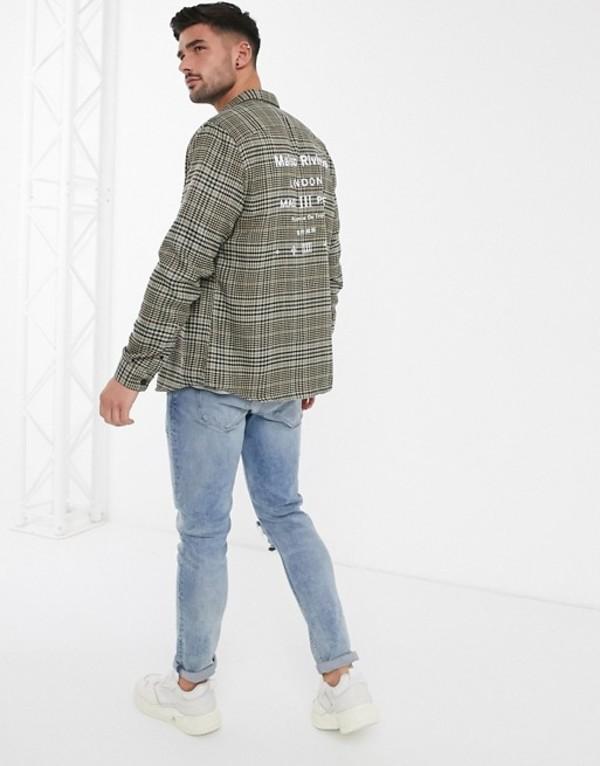 リバーアイランド メンズ シャツ トップス River Island shirt in stone heritage check Stone