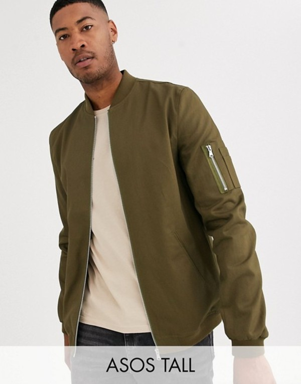 エイソス メンズ ジャケット・ブルゾン アウター ASOS DESIGN Tall bomber jacket with MA1 pocket in khaki Khaki