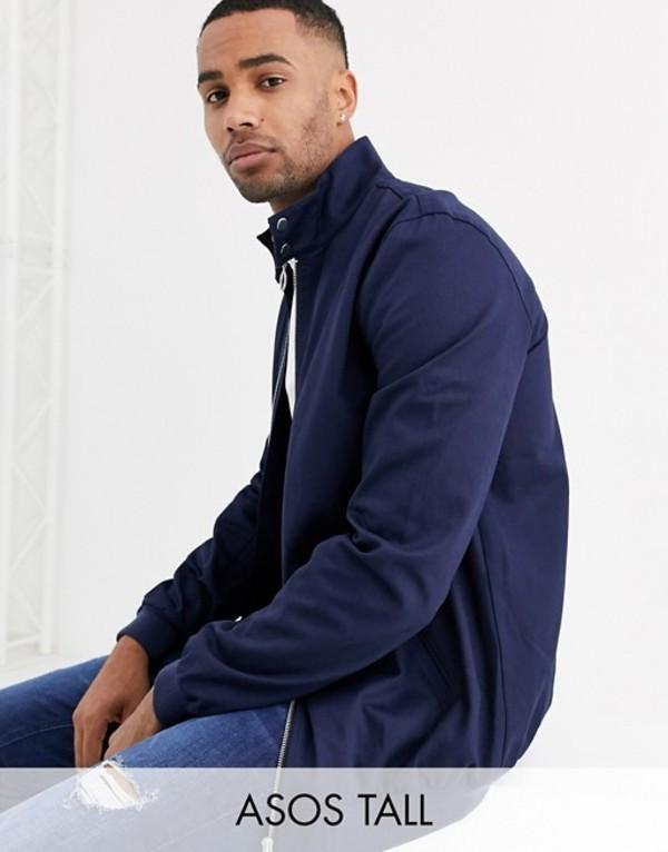 エイソス メンズ ジャケット・ブルゾン アウター ASOS DESIGN Tall harrington jacket with funnel neck in navy Navy