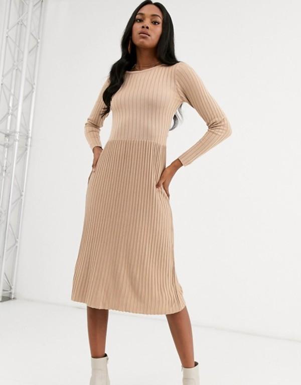 ワイエーエス レディース ワンピース トップス Y.A.S ribbed knitted midi dress Beige