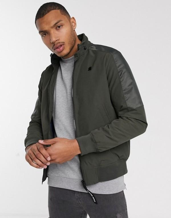 ジースター メンズ ジャケット・ブルゾン アウター G-Star Windbreaker zip through jacket in khaki Khaki