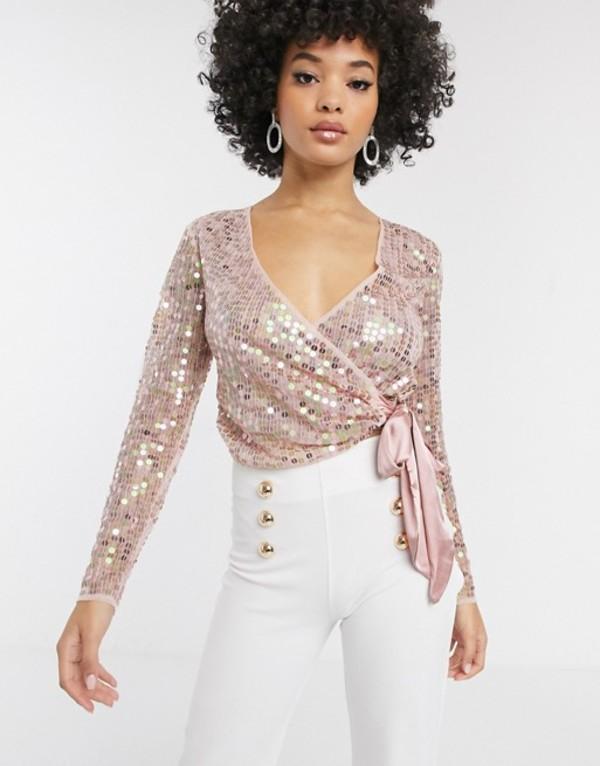 エイソス レディース シャツ トップス ASOS DESIGN sequin wrap top with bow in pink Pink