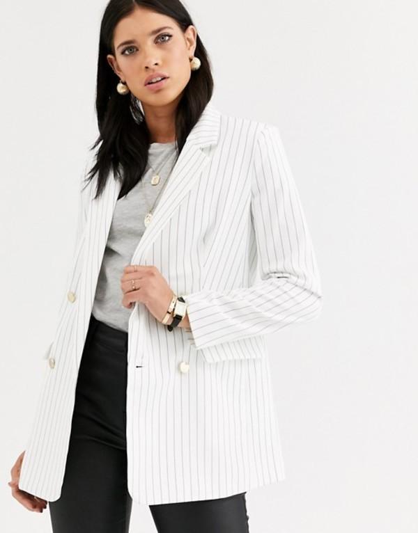 リクオリッシュ レディース ジャケット・ブルゾン アウター Liquorish pinstripe blazer White