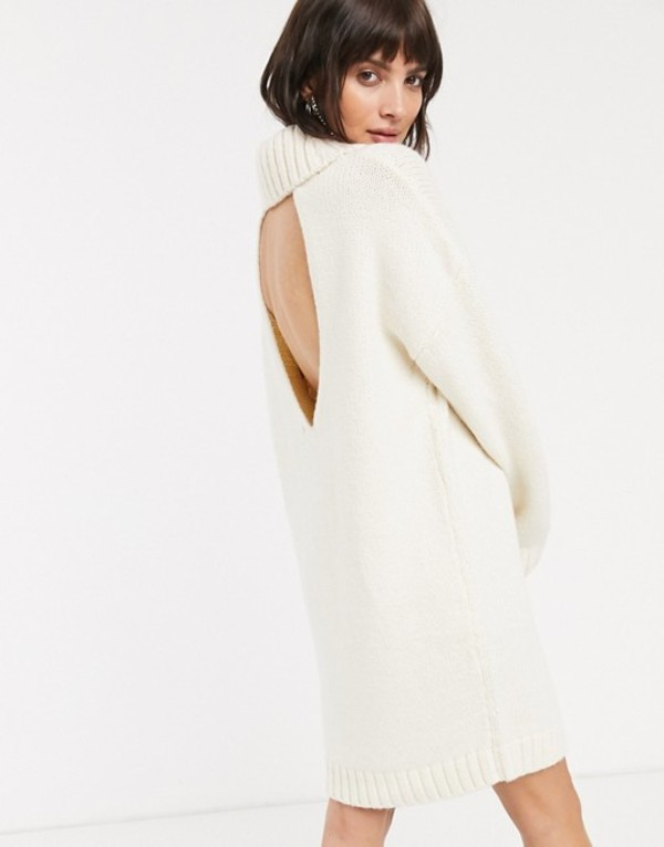 エイソス レディース ワンピース トップス ASOS DESIGN chunky mini dress with roll neck with open back Cream