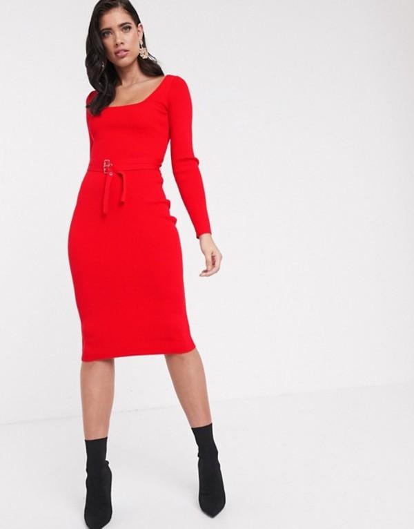 エイソス レディース ワンピース トップス ASOS DESIGN square neck belted midi dress Red