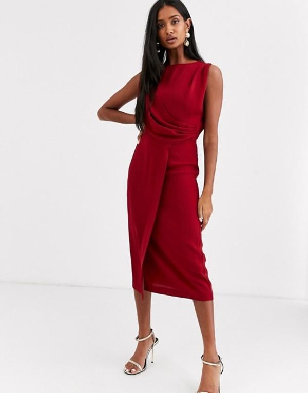 エイソス レディース ワンピース トップス ASOS DESIGN sleeveless wrap midi dress Oxblood