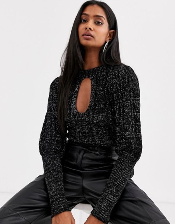 エイソス レディース ニット・セーター アウター ASOS DESIGN cut out metallic cable sweater Black