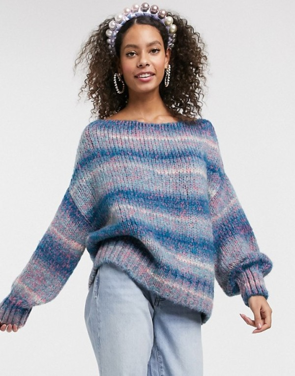 エイソス レディース ニット・セーター アウター ASOS DESIGN off shoulder sweater in space dye yarn Multi