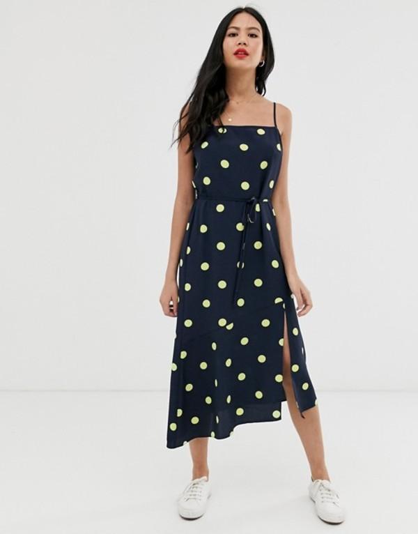 ミスセルフフリッジ レディース ワンピース トップス Miss Selfridge strappy midi dress in polka dot Navy