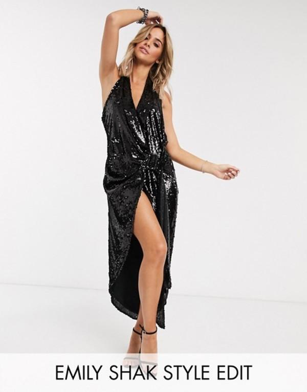 エイソス レディース ワンピース トップス ASOS DESIGN halter drape belted tux dress Black