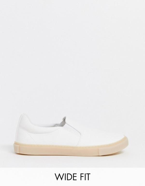 エイソス メンズ スニーカー シューズ ASOS DESIGN Wide Fit slip on plimsolls in white leather look with gum sole White