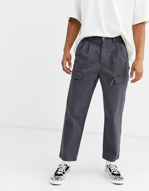 エイソス メンズ カジュアルパンツ ボトムス ASOS WHITE cargo pants in dark gray Iron gate