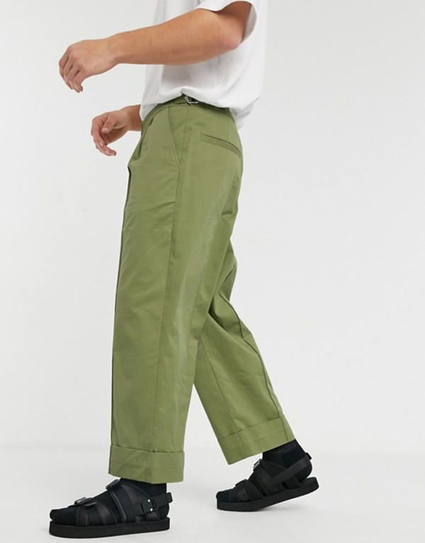 エイソス メンズ カジュアルパンツ ボトムス ASOS WHITE wide leg pants with front crease in green Guacamole