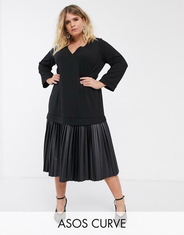 エイソス レディース ワンピース トップス ASOS DESIGN Curve midi sweat dress with leather look pleated hem Black