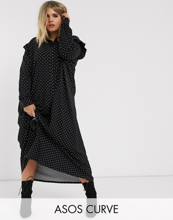 エイソス レディース ワンピース トップス ASOS DESIGN Curve long sleeve mono spot shirt maxi dress Mono spot