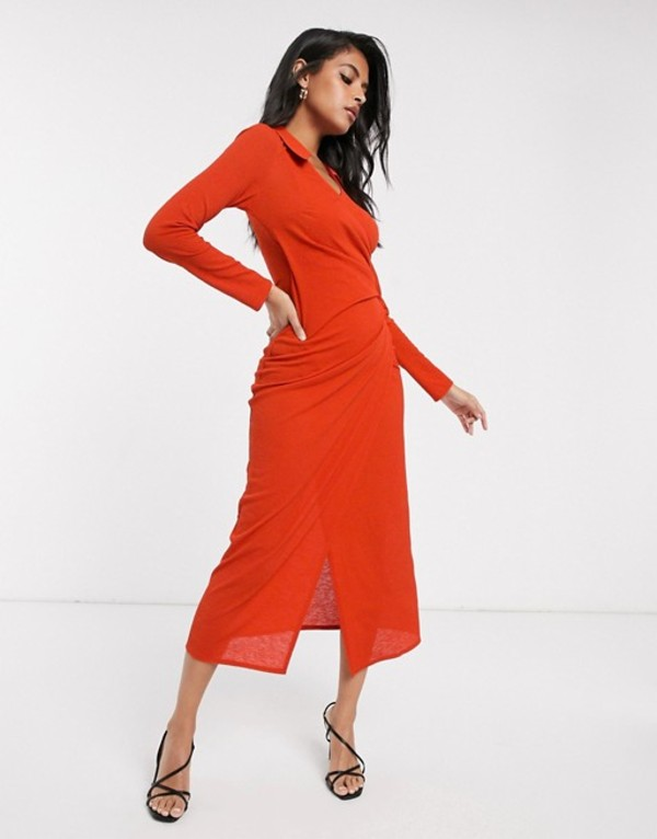 エイソス レディース ワンピース トップス ASOS DESIGN long sleeve shirt wrap city maxi dress Rust