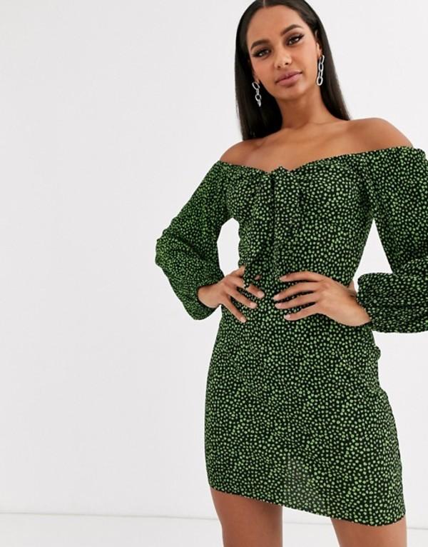 エイソス レディース ワンピース トップス ASOS DESIGN mini ditsy print plisse dress with knot front Green ditsy