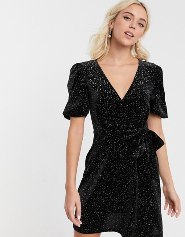 エイソス レディース ワンピース トップス ASOS DESIGN glitter velvet mini tea dress Black glitter