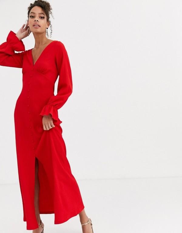 エイソス レディース ワンピース トップス ASOS DESIGN long sleeve button through textured maxi dress Red