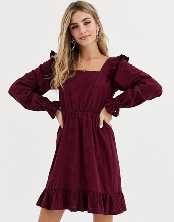 エイソス レディース ワンピース トップス ASOS DESIGN broderie mini dress with frill shoulder Wine