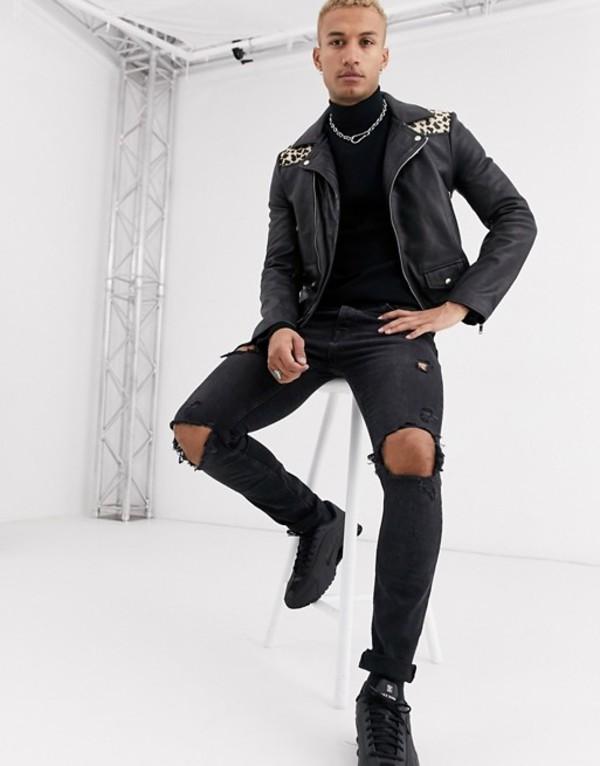 ボロンガロトレバー メンズ ジャケット・ブルゾン アウター Bolongaro Trevor leopard yoke biker leather jacket Black
