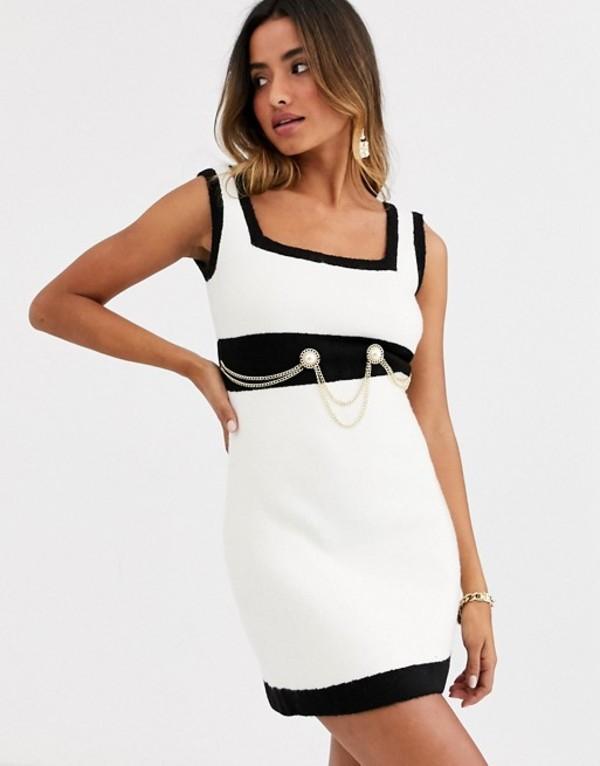 ロニーコボ レディース ワンピース トップス Ronny Kobo anamaree faux pearl micro mini dress with chain belt Black white