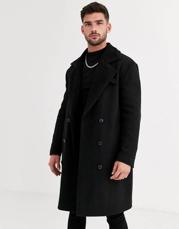 エイソス メンズ コート アウター ASOS DESIGN wool mix overcoat with quilted lining in black Black