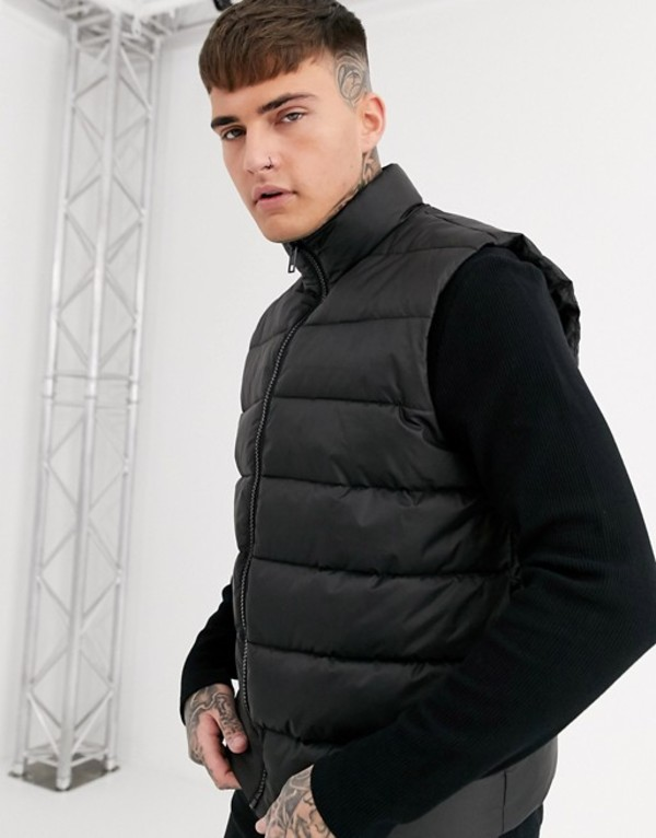 エイソス メンズ タンクトップ トップス ASOS DESIGN puffer vest in black Black