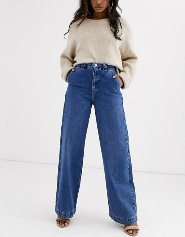 ヴェロモーダ レディース デニムパンツ ボトムス Vero Moda Aware wide leg jeans in mid blue denim Mid blue