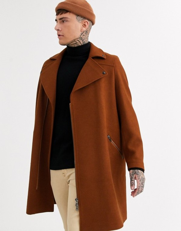 エイソス メンズ コート アウター ASOS DESIGN wool mix overcoat in tobacco with biker detailing Tobacco