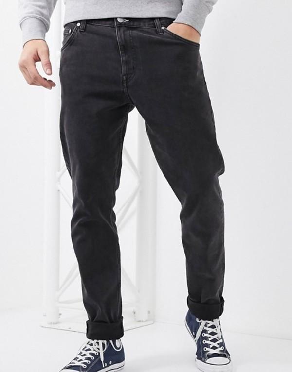 ウィークデイ メンズ デニムパンツ ボトムス Weekday Sunday relaxed tapered comfort fit jeans in black Tuned black