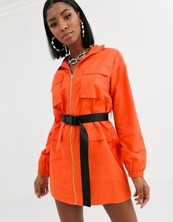 パブリックデザイア レディース ワンピース トップス Public Desire utility shirt dress with contrast belt Orange