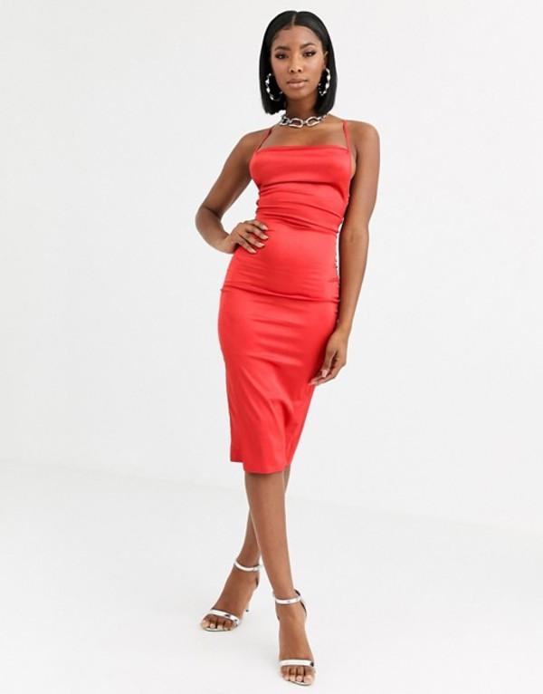 パブリックデザイア レディース ワンピース トップス Public Desire maxi slip dress with cowl neck in luxe satin Red