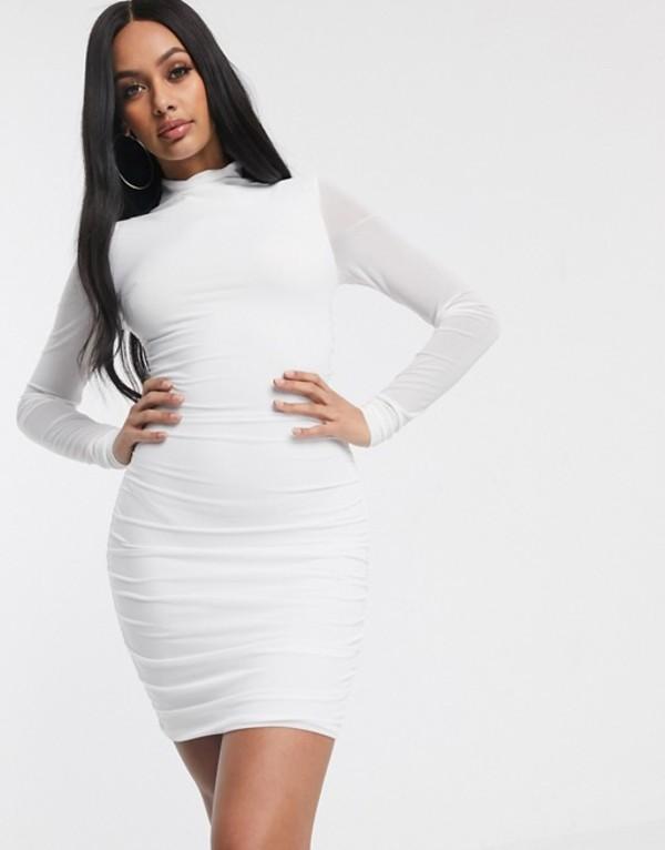 タイガーミスト レディース ワンピース トップス Tiger Mist mesh sleeve ruched bodycon dress in white White