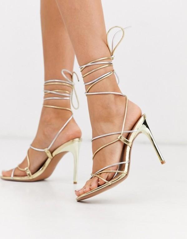 エイソス レディース サンダル シューズ ASOS DESIGN Non Stop strappy tie leg heeled sandals in gold and silver metallic Silver/gold mix