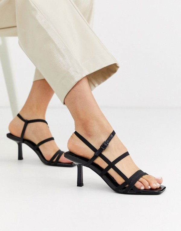 エイソス レディース サンダル シューズ ASOS DESIGN Heartbreak strappy heeled sandals in black Black