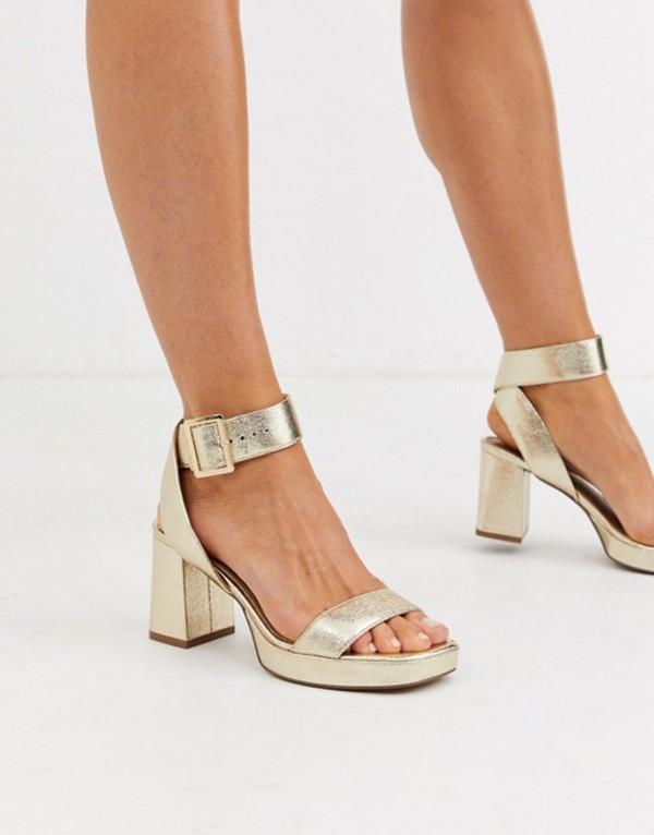エイソス レディース ヒール シューズ ASOS DESIGN Hopscotch platform heeled sandals in metallic Metallic