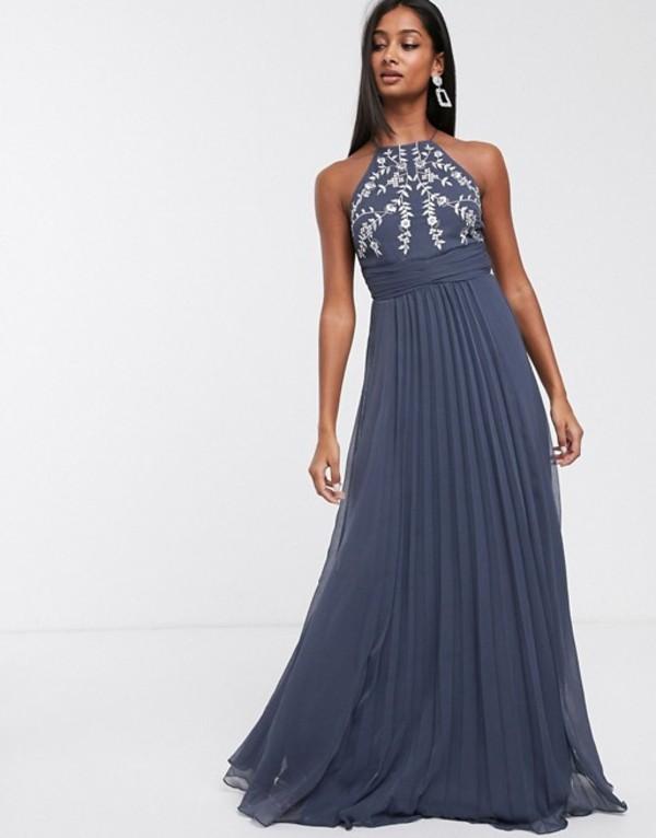 エイソス レディース ワンピース トップス ASOS DESIGN embroidered pleated maxi dress Soft blue