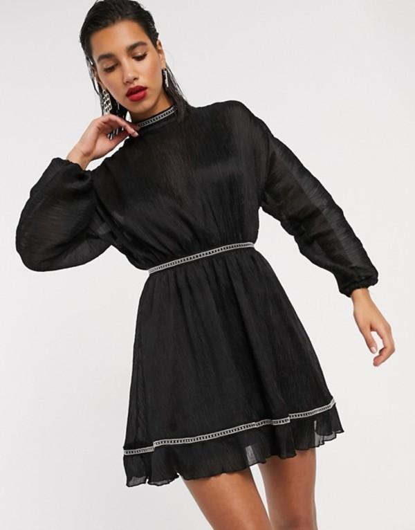 エイソス レディース ワンピース トップス ASOS DESIGN textured chiffon skater mini dress with metallic trim detail Black