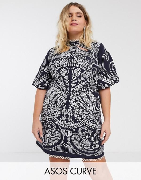エイソス レディース ワンピース トップス ASOS DESIGN Curve embroidered structured mini dress with high neck Navy and white