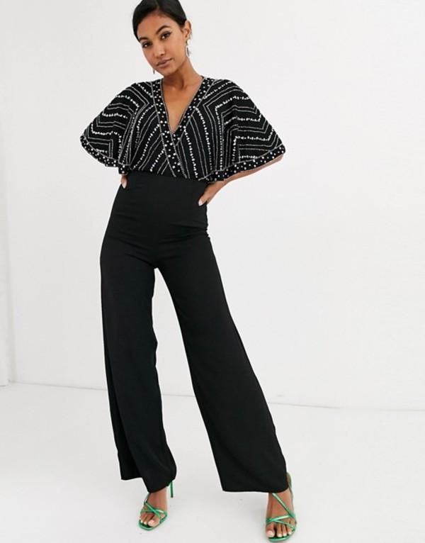 フロック レディース ワンピース トップス Frock & Frill embellished cape detail jumpsuit Black
