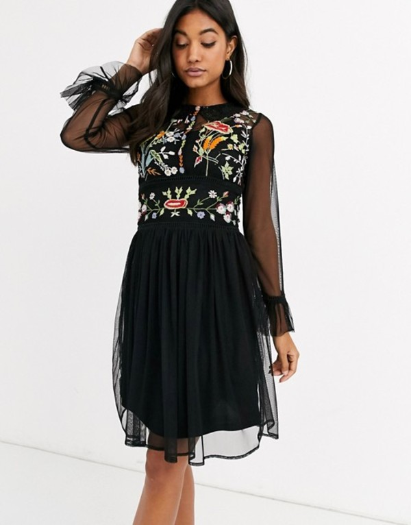フロック レディース ワンピース トップス Frock & Frill mesh long sleeve embroidered detail collar dress Black