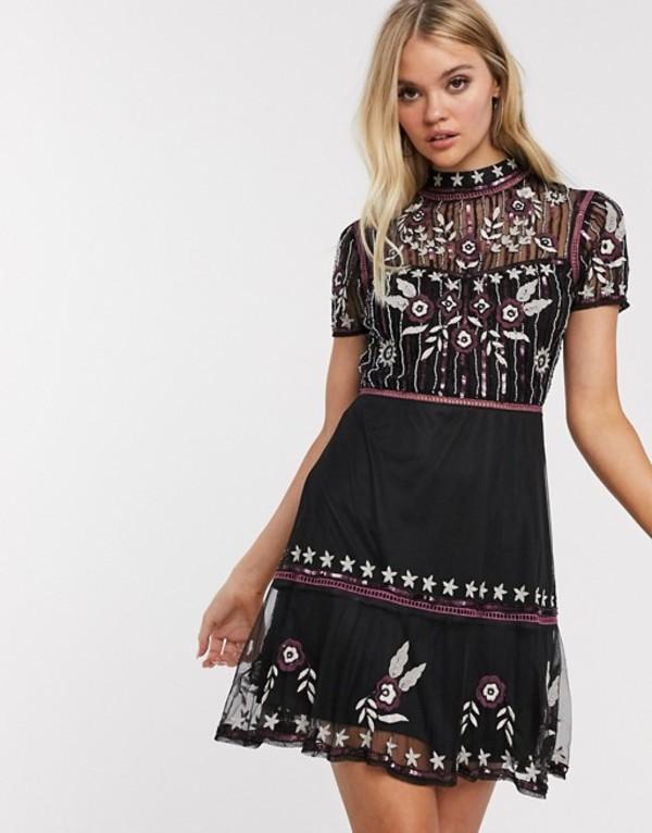 フロック レディース ワンピース トップス Frock & Frill short sleeve embroidered skater dress Black