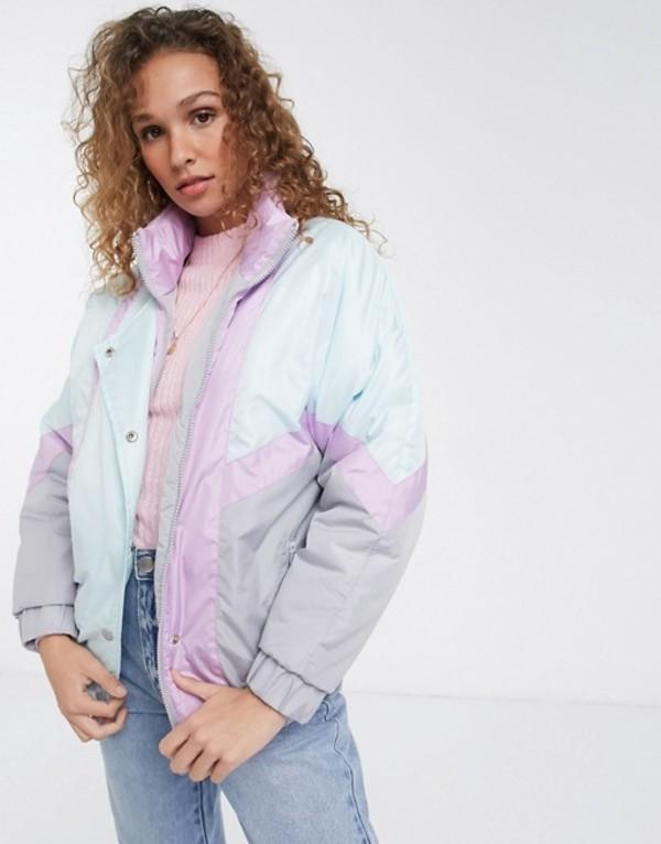 ブレーブソウル レディース ジャケット・ブルゾン アウター Brave Soul cascada ski jacket in pastel mix Light grey / lilac