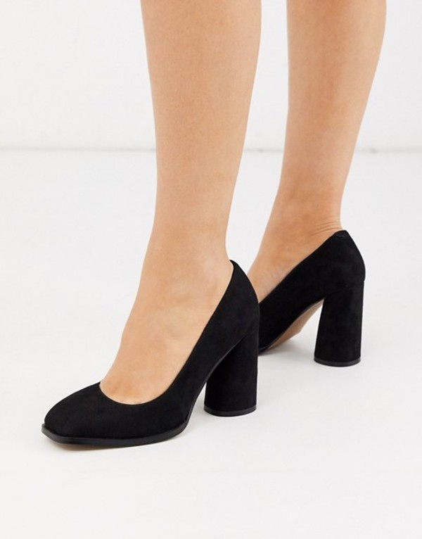 エイソス レディース ヒール シューズ ASOS DESIGN Pinky square toe block heeled pumps in black Black
