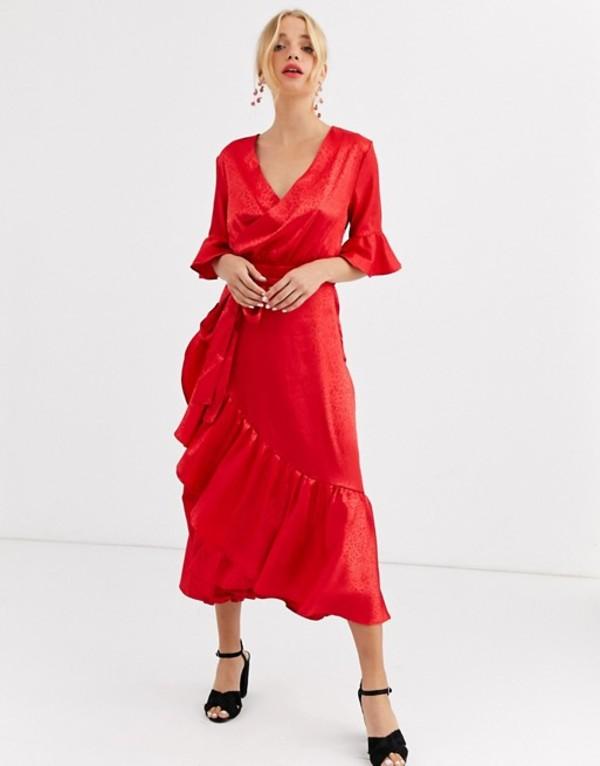 ダークピンク レディース ワンピース トップス Dark Pink satin ruffle hem midaxi dress in red leopard Red