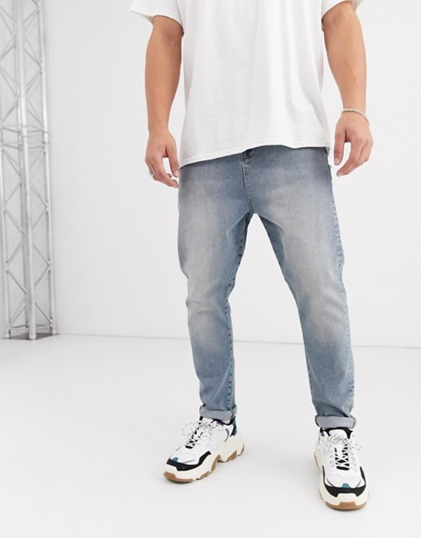 エイソス メンズ デニムパンツ ボトムス ASOS DESIGN drop crotch jeans in vintage light wash blue Light wash blue